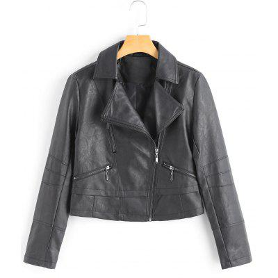 Cropped Faux Leather Motorcycle Jacket