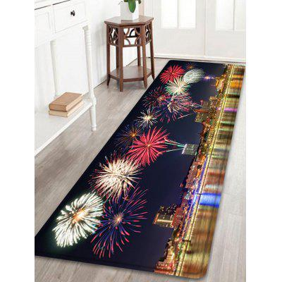 City Firework Pattern Water Absorption Area Rug
