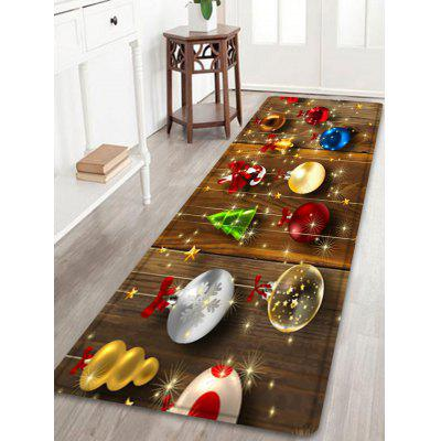 Christmas Baubles Wood Pattern Water Absorption Area Rug