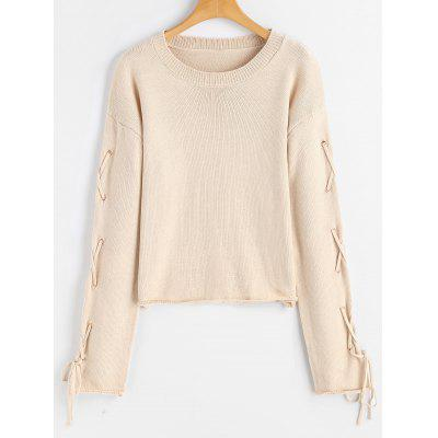 Criss Cross Lace Up Pullover Sweater
