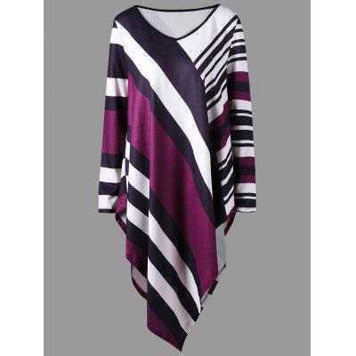 Plus Size V Neck Striped Asymmetric Top