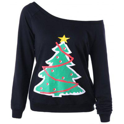 Christmas Tree One Shoulder Sweatshirt