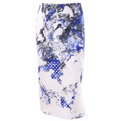 Zipper Print Midi Skirt