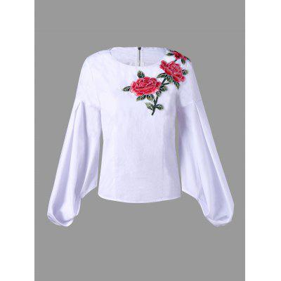 Zip Up Flower Embroidered Puff Sleeve Blouse