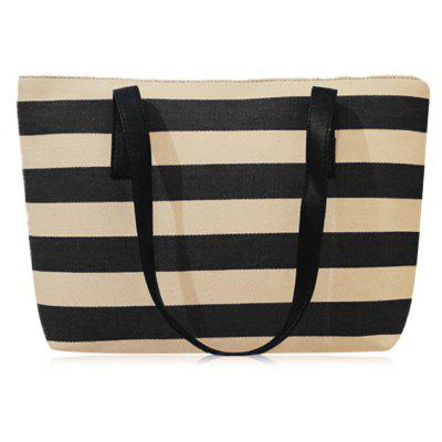 Striped Canvas Color Block Shoulder Bag