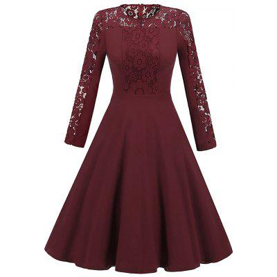 Vintage Long Sleeve Lace Insert Skater Dress