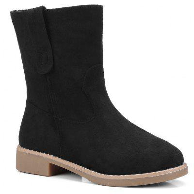 Buy BLACK 37 Low Heel Faux Suede Ankle Boots for $32.59 in GearBest store