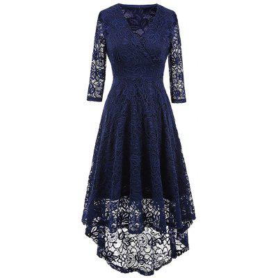 Buy PURPLISH BLUE 2XL V Neck High Low Lace Midi Dress for $32.80 in GearBest store