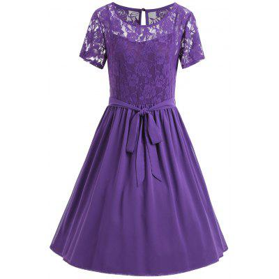Buy PURPLE 6XL Plus Size Lace Panel Belted Flowy Dress for $32.59 in GearBest store