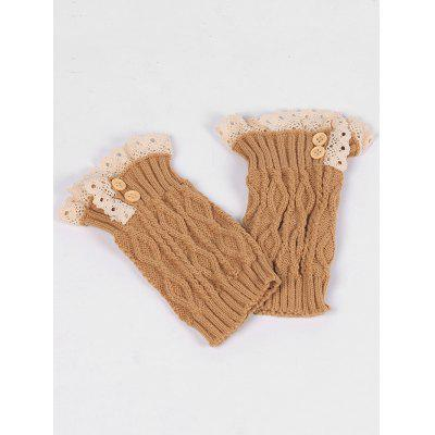 Lace Edge and Button Embellished Leg Warmers