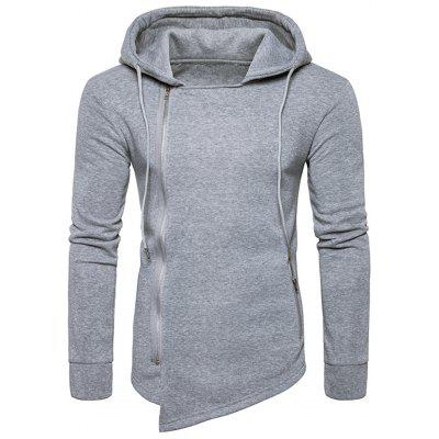 Buy LIGHT GRAY L Hooded Drawstring Asymmetric Zip Up Hoodie for $29.60 in GearBest store