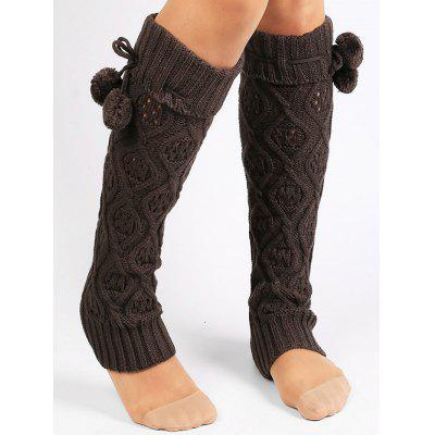 Fuzzy Ball Decorated Hollow Out Knitted Leg Warmers