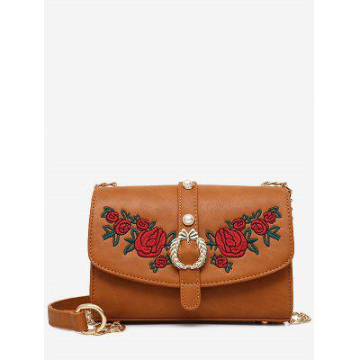 Buy BROWN Faux Pearl Embroidery Metal Detailed Crossbody Bag for $28.33 in GearBest store