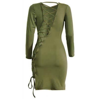 Buy ARMY GREEN L Lattice Cut Out Long Sleeve Sheath Dress for $20.60 in GearBest store