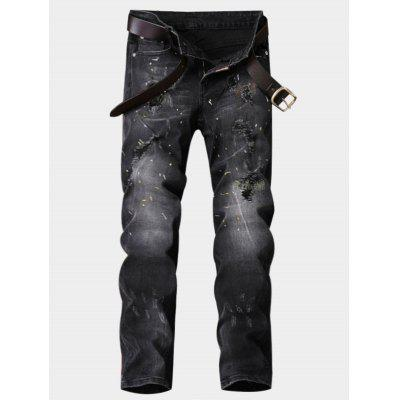 Zipper Fly Straight Leg Paint Ripped Jeans