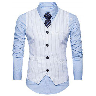 Turndown Collar Single Breasted Belt Vertical Stripe Waistcoat