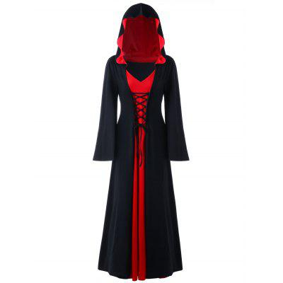 Buy RED WITH BLACK 4XL Halloween Hooded Plus Size Lace Up Maxi Dress for $36.23 in GearBest store