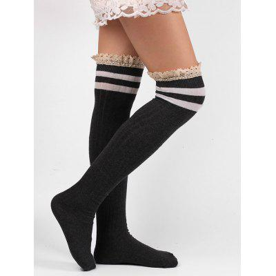 Lace Edge Hemp Embellished Striped Knee High Socks