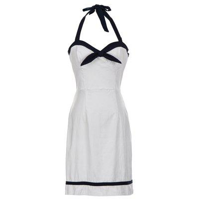 Buy WHITE L Halter Backless Bowknot Bodycon Dress for $22.21 in GearBest store