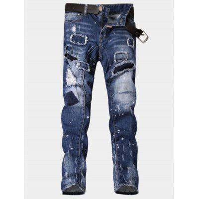 Zipper Fly Paint Print Patch Ripped Jeans