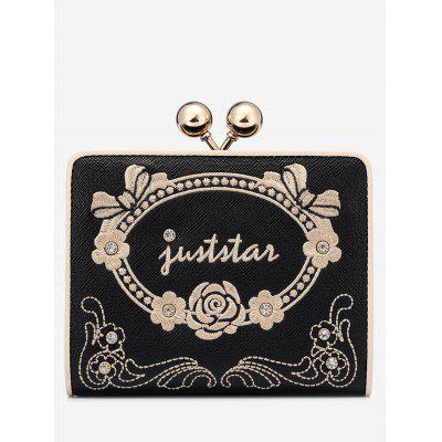 Embroidery Metal Rhinestone Wallet