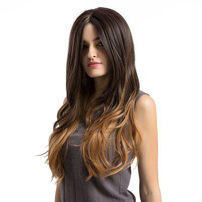 Buy GRADUAL BROWN Long Center Parting Ombre Layered Slightly Curly Synthetic Wig for $23.53 in GearBest store