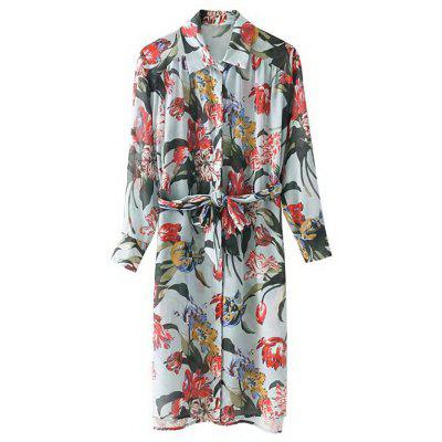 Floral Belted Long Sleeve Shirt Dress