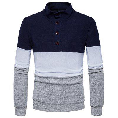 Stand Collar Buttons Color Block Knitted Sweater