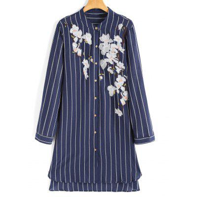 Stripes High Low Floral Embroidered Shirt Dress