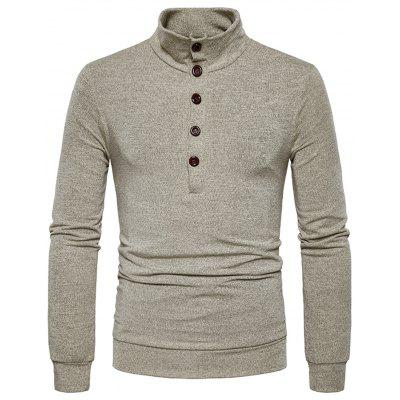 Stand Collar Buttons Long Sleeve Knitted Sweater