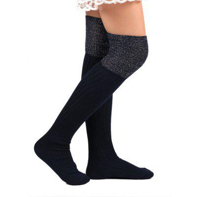 Ribbed Knitted Plain Stockings