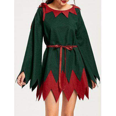 Buy RED AND GREEN M Christmas Two Tone Serrated Edge Dress for $29.51 in GearBest store
