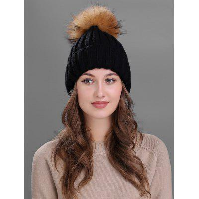 Outdoor Flanging Fur Pom Ball Knited Beanie - Black