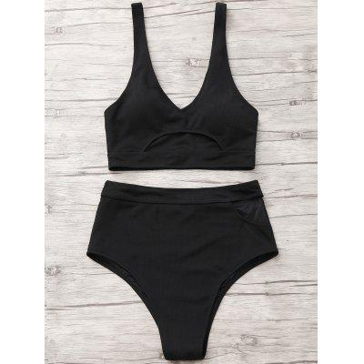 High Waisted Cut Out Bathing SuitLingerie &amp; Shapewear<br>High Waisted Cut Out Bathing Suit<br><br>Bra Style: Padded<br>Elasticity: Elastic<br>Gender: For Women<br>Material: Chinlon<br>Neckline: Plunging Neck<br>Package Contents: 1 x Bra  1 x Briefs<br>Pattern Type: Solid Color<br>Support Type: Wire Free<br>Swimwear Type: Bikini<br>Waist: High Waisted<br>Weight: 0.2800kg