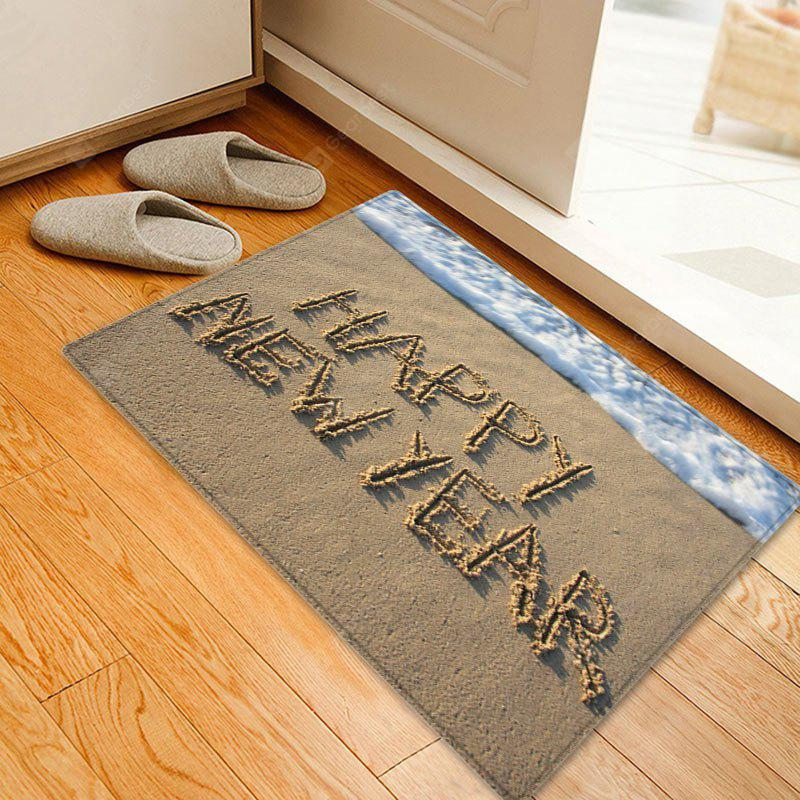 Beach Happy New Year Pattern Water Absorption Area Rug