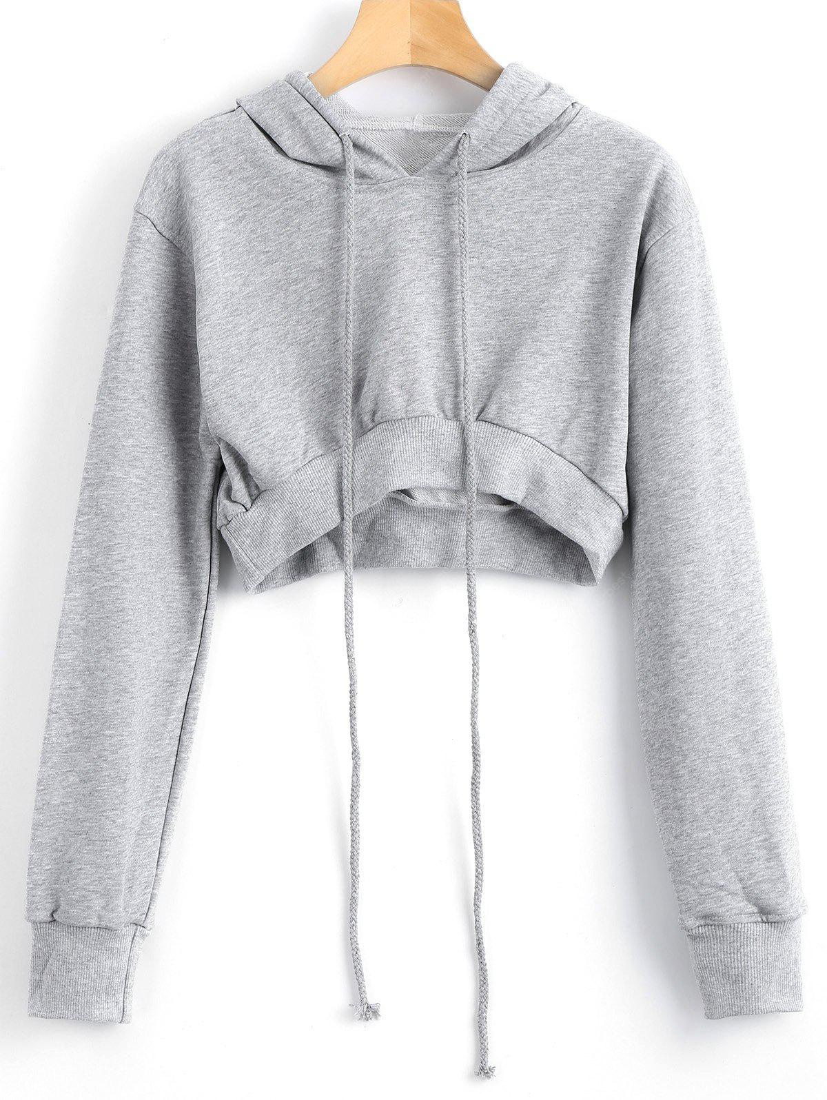 High Low Drawstring Cropped Hoodie