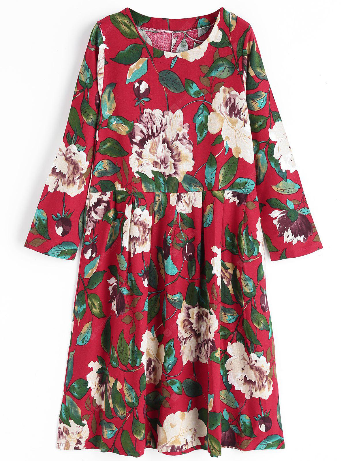 Round Collar Long Sleeve Floral Dress