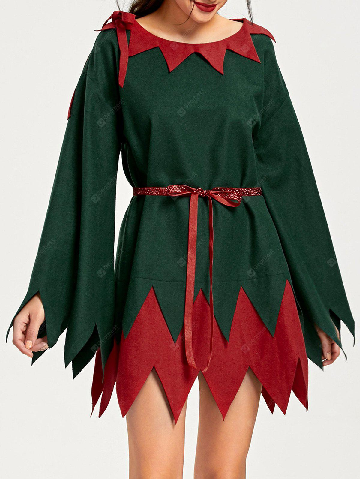 RED AND GREEN 2XL Christmas Two Tone Serrated Edge Dress