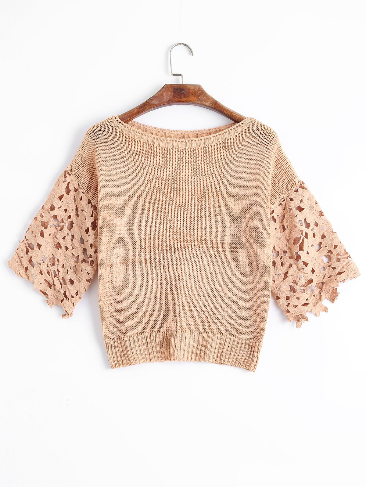 Lace Panel Sheer Pullover Sweater