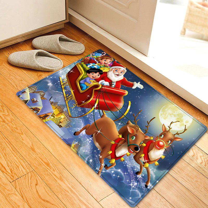 Christmas Night Santa Sleigh Pattern Water Absorption Area Rug