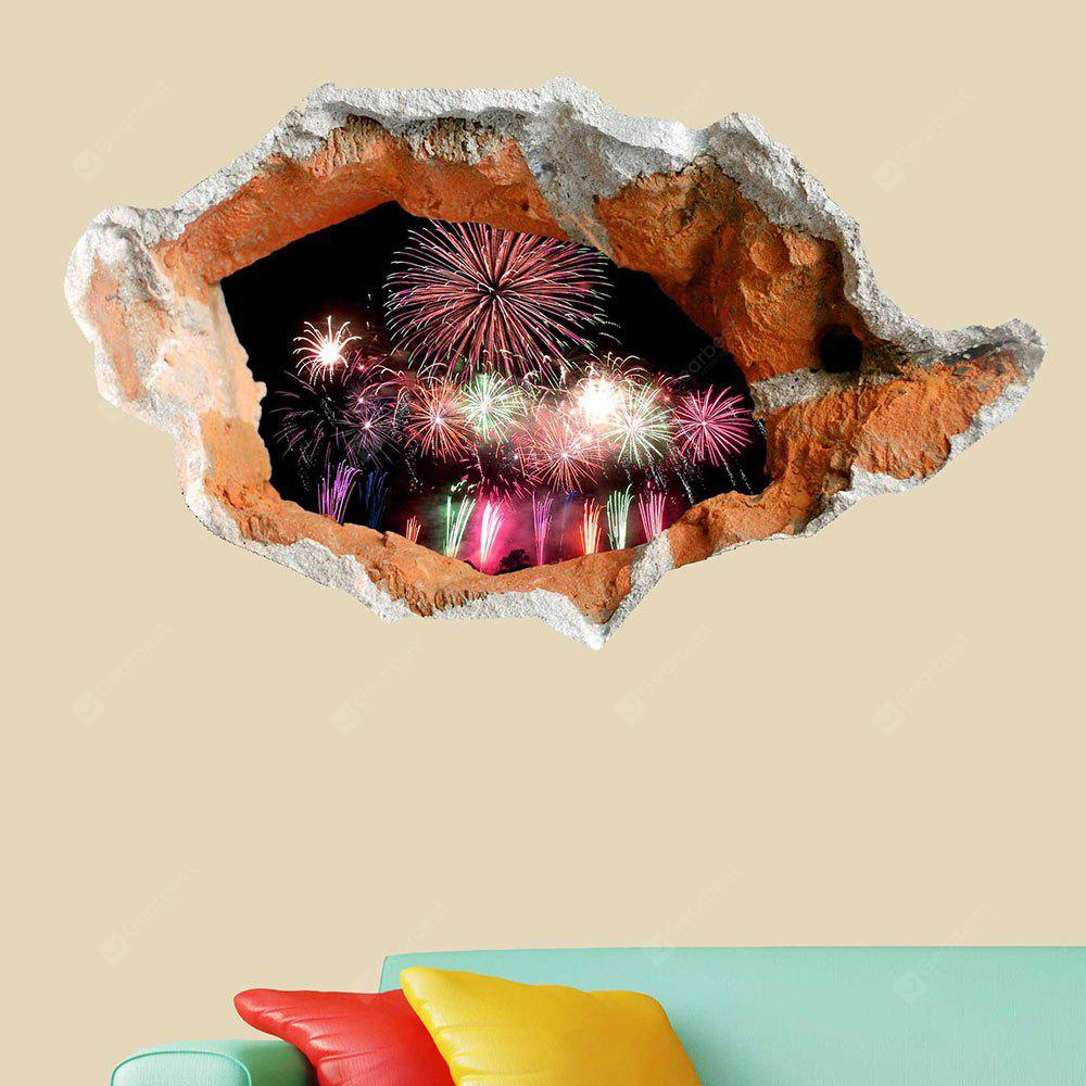 3D Hole Fireworks Floor Sticker Waterproof Wall Decal