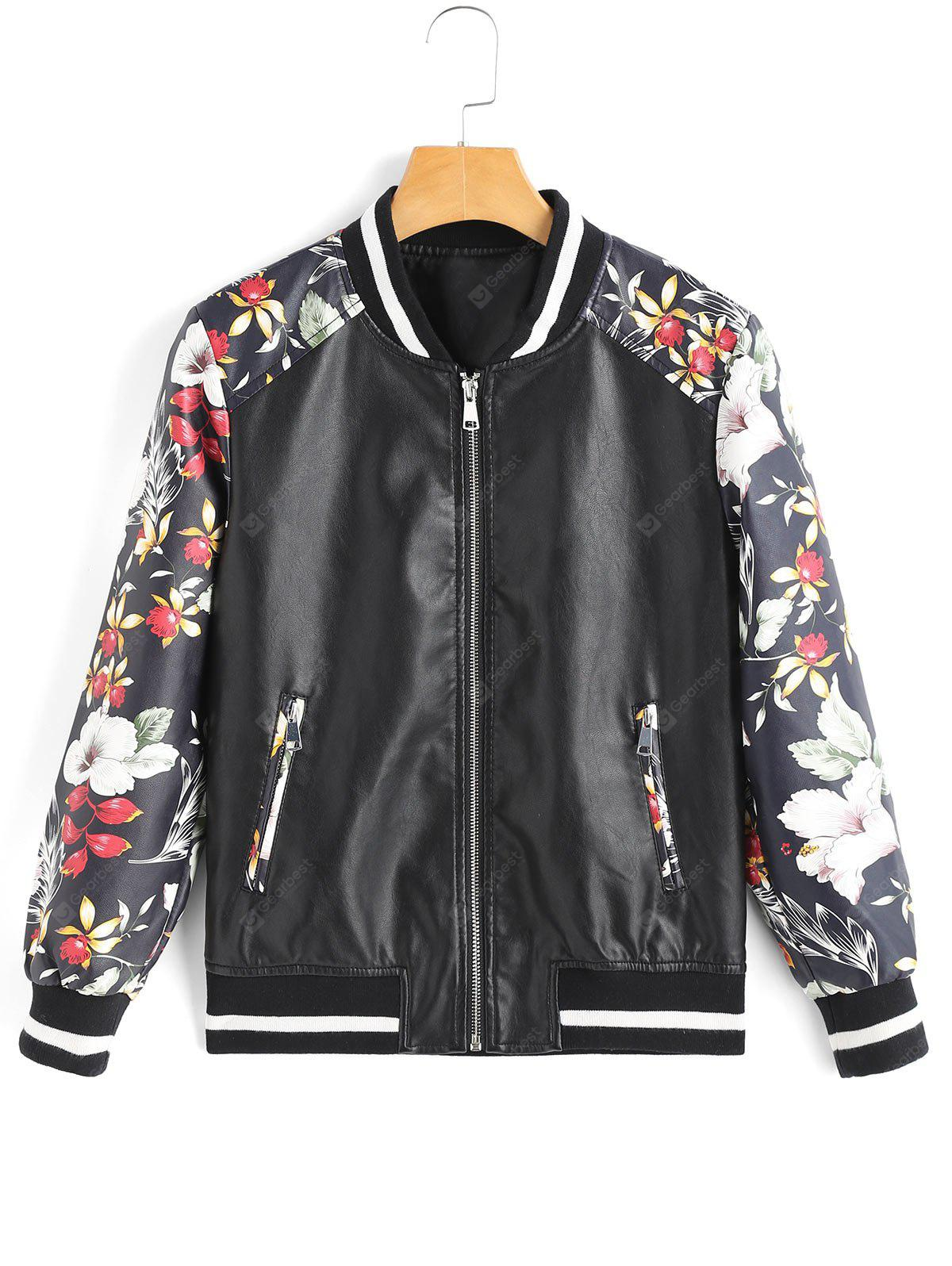 Contrasting Faux Leather Floral Jacket