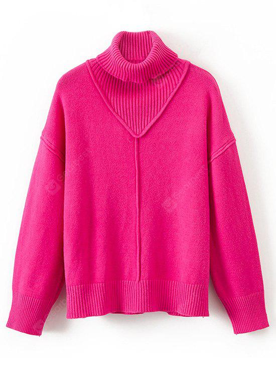 Turtleneck Ribbed Panel Pullover Sweater