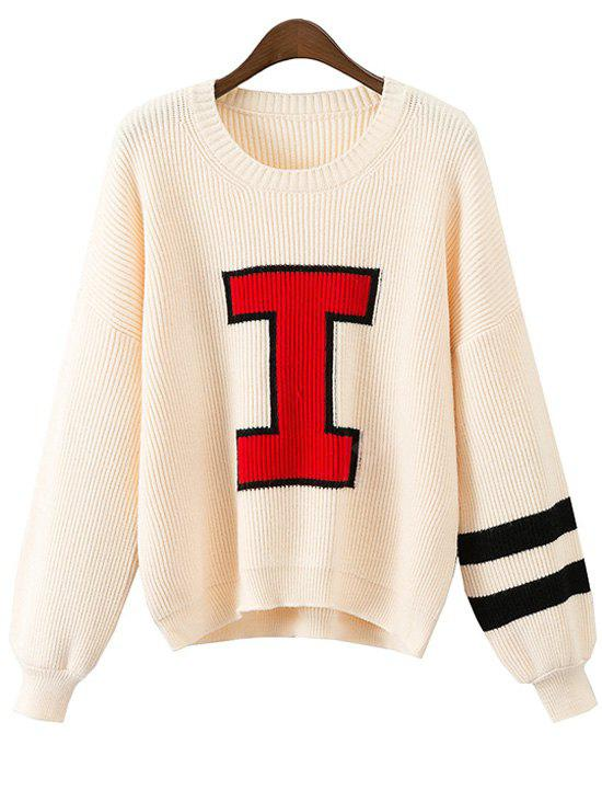 Jacquard Contrasting Pullover Sweater
