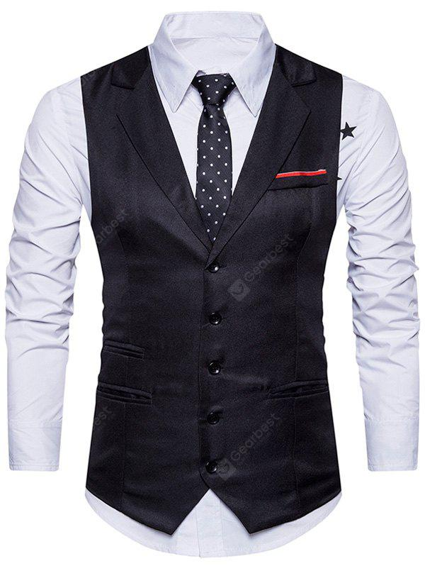 Turndown Collar Single Breasted Belt Edging Waistcoat