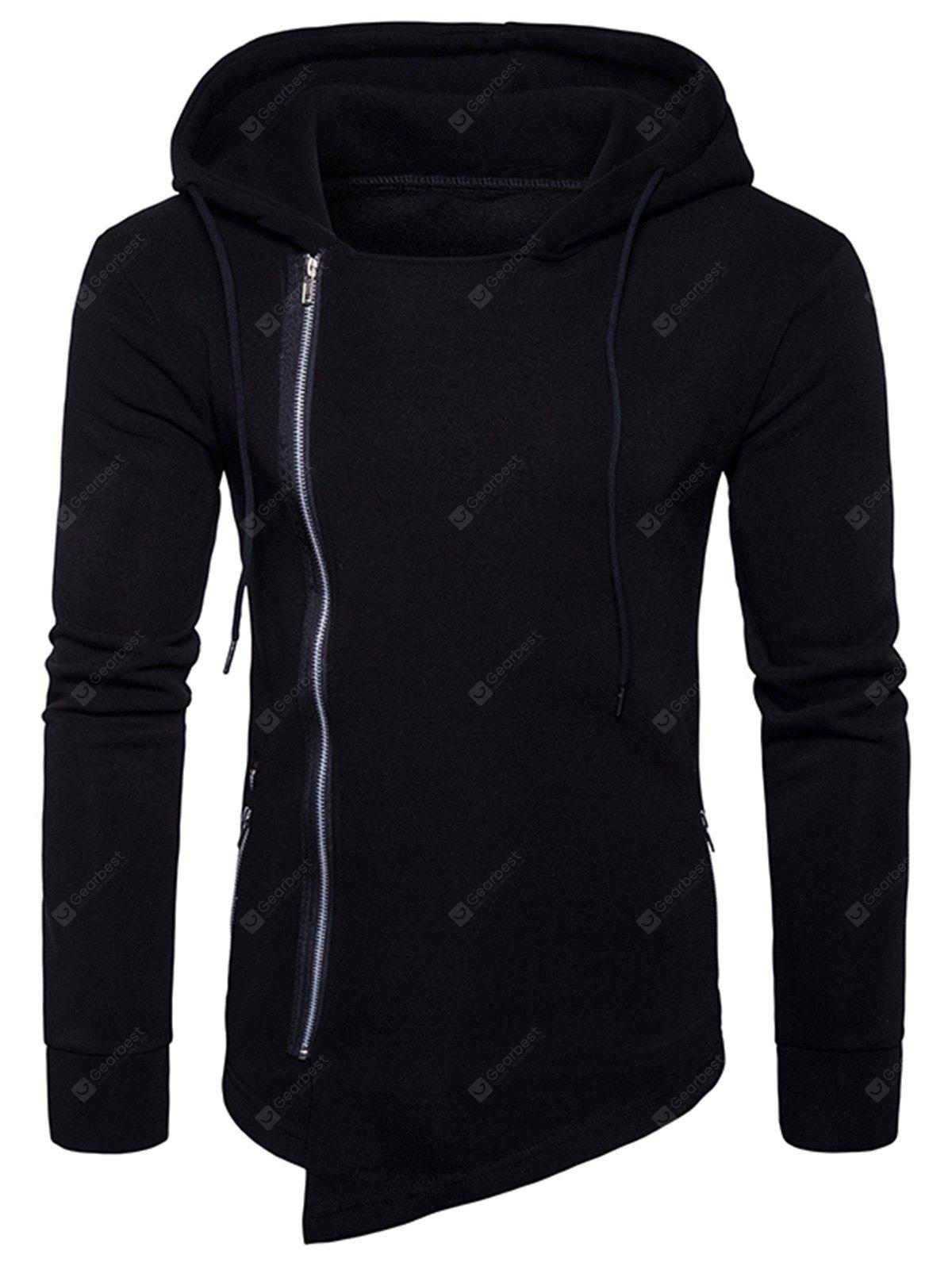 BLACK 2XL Hooded Drawstring Asymmetric Zip Up Hoodie