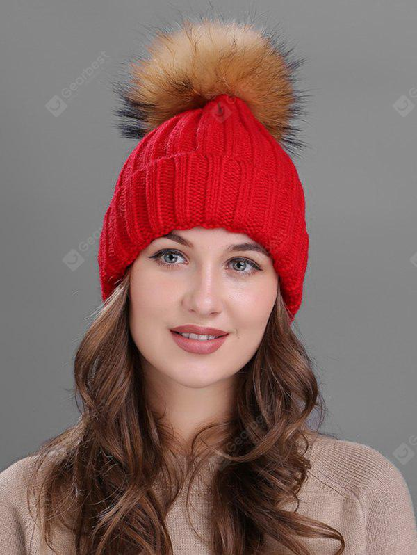 Outdoor Flanging Fur Pom Ball Knitted Beanie