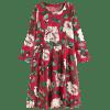 Round Collar Long Sleeve Floral Dress - RED