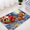 Christmas Night Santa Sleigh Pattern Water Absorption Area Rug - RED