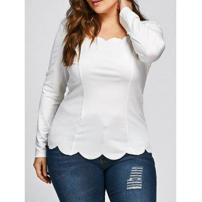 Plus Size Scalloped Square Neck Long Sleeve Top